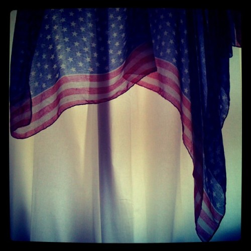 Just an American in Berlin. (at home) - scarf bought in Stockholm