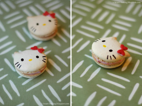 prettyfoods:  hello kitty macarons (via i heart baking!)