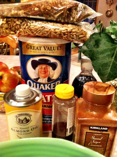 Ingredients for my homemade granola.