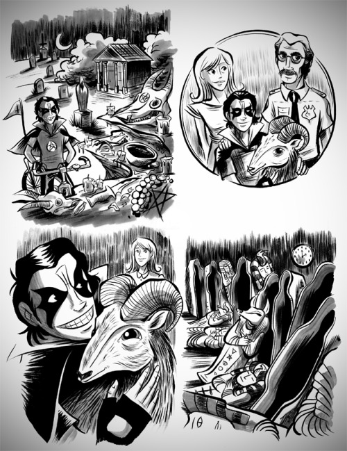 Here are a few pieces illustrated for our friend Mark Rudolph's anthology Satan is Alive: A Tribute to Mercyful Fate. The theme? Think young King Diamond as a clever Encyclopedia Brown with not-so-clever suburban parents and a pet goat. His story to be included. Check out the other participating artists. It's shaping up to be an incredible collection…like this amazing piece by artist Kevin Cross.