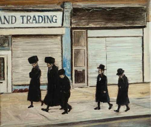 Stamford Hill Jews Oil on canvas, 25 x 30 cm