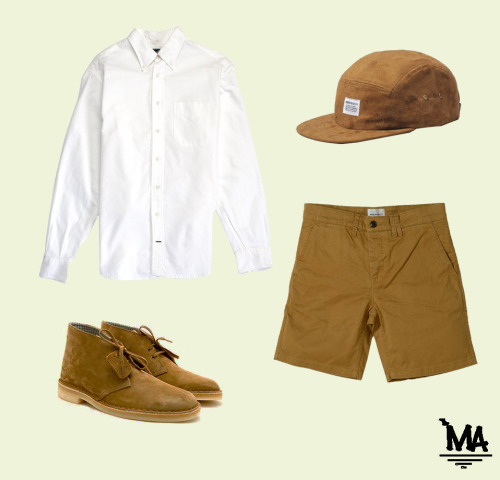 -Gitman shirt -Norse Projects suede 5 panel -Norse projects tan shorts -Clarks desert boots
