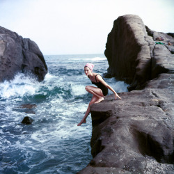 Dose of vintage: Anne St. Marie in swimwear photographed by Tom Palumbo, c. 1950s.
