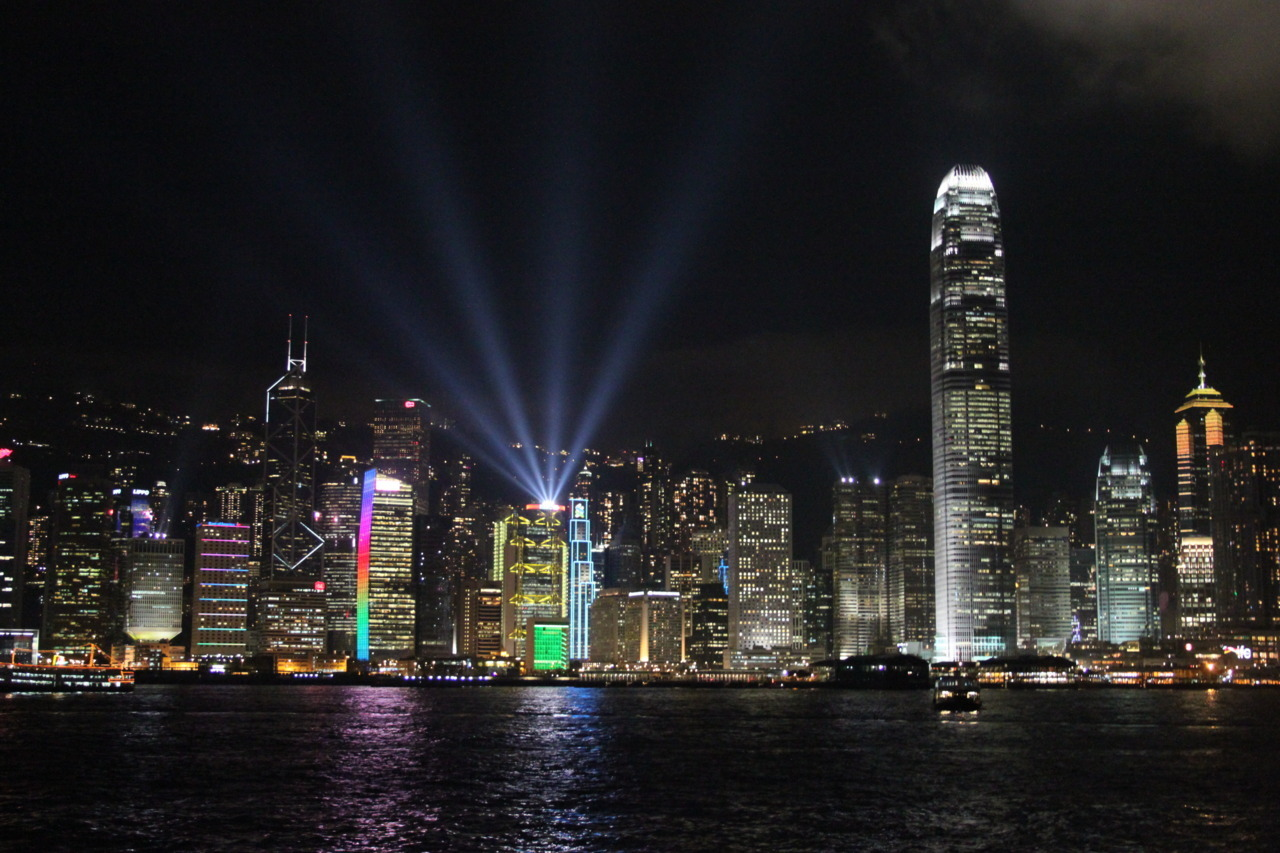 Light up the night Symphony of Lights. Hong Kong Island, China.