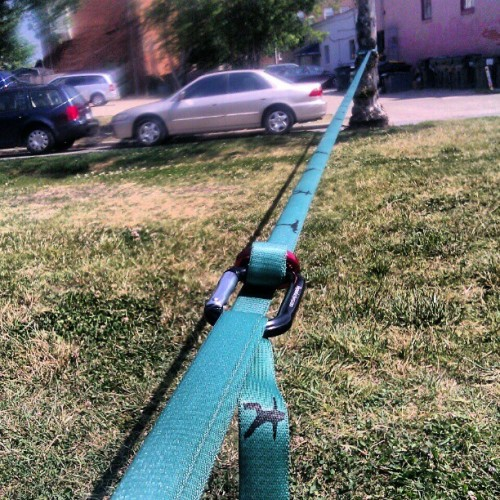 slackline… NO ratchet involved… love it! (Taken with Instagram at washington park)