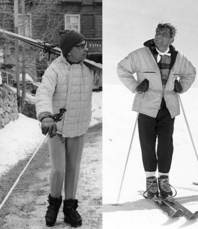 Herbert von Karajan (L) and Leonard Bernstein (R) in ski gear. These two titans of the podium did not get along famously—but Bernstein was touched when von Karajan showed up at his room in Milan at 3 AM with an armful of ski gear for him to borrow. At dinner von Karajan had offered to take his counterpart into the Alps, but Bernstein had to decline as he owned no equipment.