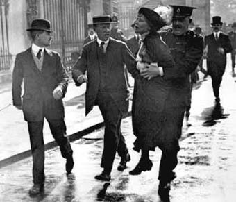 "Emmeline Pankhurst shouting ""Votes for women!"" during her arrest."