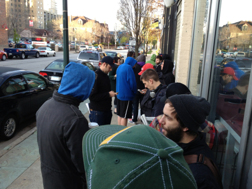 The line at The Exclusive company in Milwaukee, WI at about 7:00 am on Record Store Day 2012!!