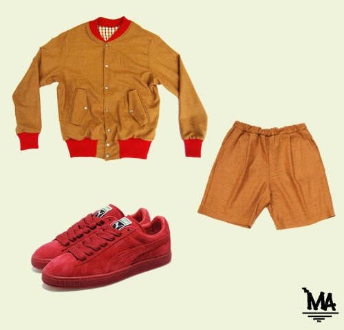 -House of billiam tan varsity -House of billiam tan shorts -Puma classic eco suede (red)