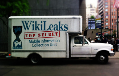 WikiLeaks: Top Secret Mobile Information Collection Unit Last night's FJP field trip brought us to the Whitney Museum in New York City to hear a talk organized by the documentarian Laura Poitras about the national security state in the United States. The speakers were Jacob Appelbaum and William Binney. Binney is the former technical director of the National Security Agency's World Geopolitical and Military Analysis Reporting Group. He retired in 2001 when the NSA started to turn its surveillance capabilities on US citizens. Applebaum is a noted privacy rights evangelist, and is most visible as a spokesperson for the Tor Project, a software solution to protect individuals from online surveillance, and for his work with Wikileaks. All have been targeted by the US government for their activities. Earlier in the day, Democracy Now interviewed each about their work and the national security state. The segment with Binney is here, the segment with Applebaum is here and the segment with Poitras is here. Bonus: James Bamford's March cover story for Wired: The NSA Is Building the Country's Biggest Spy Center (Watch What You Say). Image: A WikiLeaks truck parked outside the Whitney Museum in New York City.