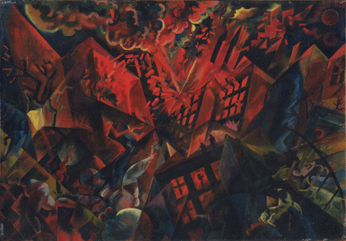 "Explosion (1917) by George Grosz  Grosz's image of a burning, shattered Berlin is an allegory of destruction created shortly after he was discharged from the German army as ""permanently unfit."""