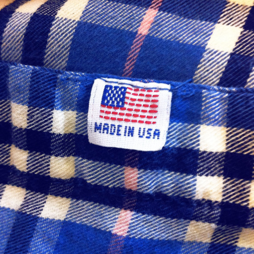 Spring-weight flannel. Made in USA.