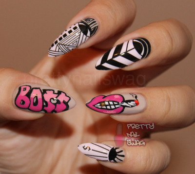 prettynailswag:  NCLA x Melody Ehsani Nail Wraps…feelin so BO$$ rockin the M.E. nail wraps, oooohwee!!