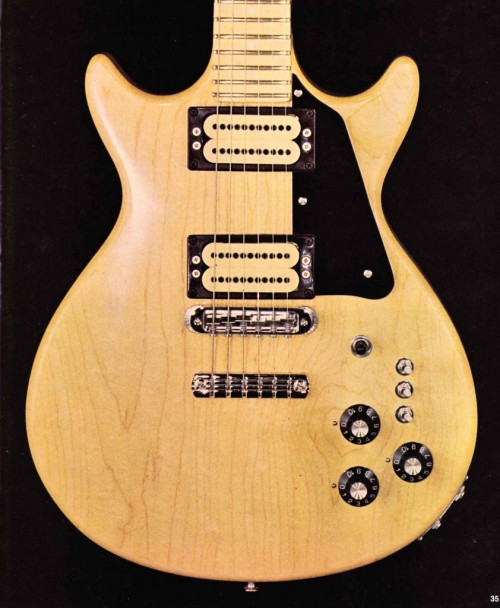 Carvin DC 150 1976-1992Maple, Ebony Jewel of versatility, the the Carvin DC-150 is Gibsonesque only in appearances. Each pickup can be turned to single coils via a mini-switch, and a third mini switch acts as a phase inverter. Combined with stereo output, imagine all possibilities…  Hear it. Both DC-150C (blonde) and DC-150C (black) were exclusively made out of maple. An optional ebony fretboard was eventually offered. In 2002, Carvin reintroduced the DC-150 with a lot of changes that turned it officially into a Gibson clone: New pickups, rounder body shape, mahogany / maple top construction, no mini-switches, 22 frets.