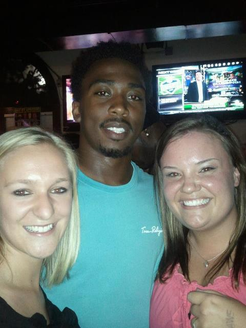 whitneydj:  Kayla and I saw Tyrod last night in Blacksburg (at Sharkey's)!! We were so happy! And he was super okay with it when I asked if he would take a picture with us! I'm sure in Blacksburg he's used to people noticing him and wanting pictures. We all love us some Tyrod Taylor!   Good to see T-Mobile back in the Burg! Would love to see him win the Ravens' starting QB job this season.