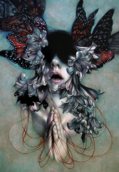 "hifructosemag:  New Work from Hi-Fructose cover artist Vol. 20 Marco Mazzoni marcomazzoni:  ""The Hell As An Empty Space"" 2012, colored pencils on paper, cm 65x45"