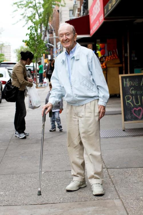 "discoverynews:  humansofnewyork:  I found this man on 7th Avenue in Park Slope. He was leaning heavily on his cane, looking down, wearing a grimaced face. I felt bad for him, so I smiled and waved when I walked past. His face changed completely. He lit up, smiled wide, and gave me a cheery greeting. There was nothing forced about it. He seemed like a man who went through life looking for the smallest excuses to be happy.I walked 50 feet down the sidewalk, turned around, and walked back to him. ""I want to take your photo,"" I told him, ""because of how big you smiled when I walked by.""He said: ""Well I saw someone smiling at me who I didn't even know. So I thought: 'By God! I Better do something!'"""