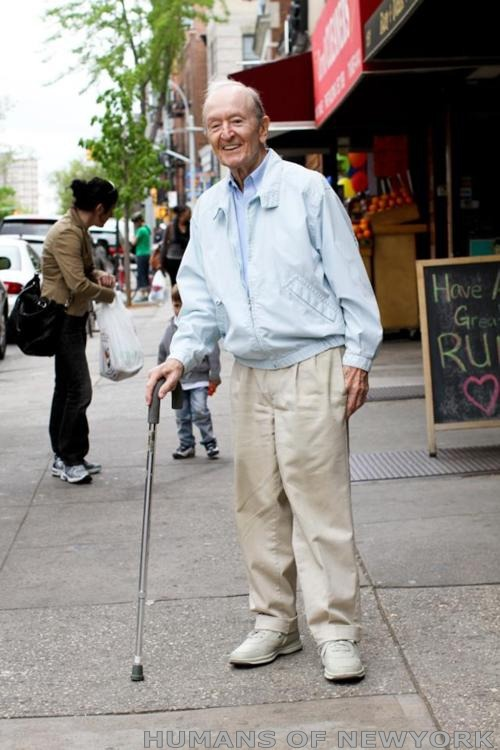 "oldhome:  ""I found this man on 7th Avenue in Park Slope. He was leaning heavily on his cane, looking down, wearing a grimaced face. I felt bad for him, so I smiled and waved when I walked past. His face changed completely. He lit up, smiled wide, and gave me a cheery greeting. There was nothing forced about it. He seemed like a man who went through life looking for the smallest excuses to be happy. I walked 50 feet down the sidewalk, turned around, and walked back to him. ""I want to take your photo,"" I told him, ""because of how big you smiled when I walked by.""He said: ""Well I saw someone smiling at me who I didn't even know. So I thought: 'By God! I Better do something!'"""