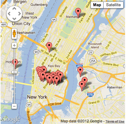 The map for Record Store Day in New York City. Alternative title: There Ain't No Record Shops On the Upper West Side.