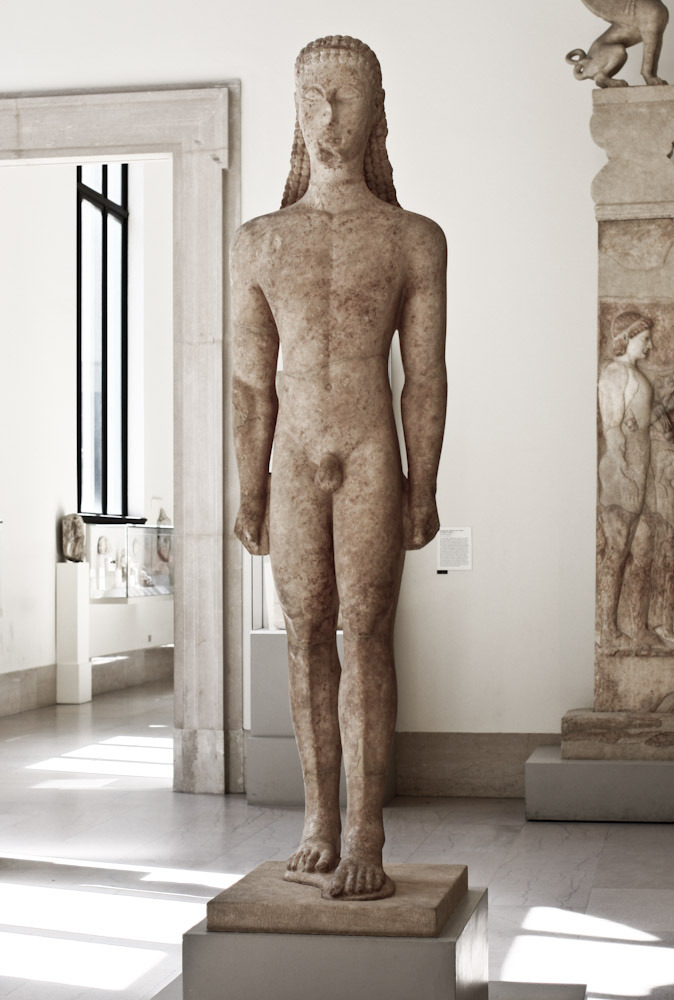 Marble statue of a kouros  Greek, Attic, ca. 590 - 580 B.C.