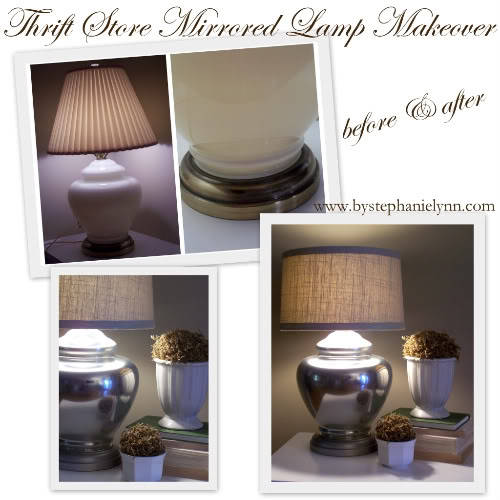 (via Under The Table and Dreaming: Thrift Store Lamp Mercury 'Mirrored' Glass Makeover with Covered Shade)