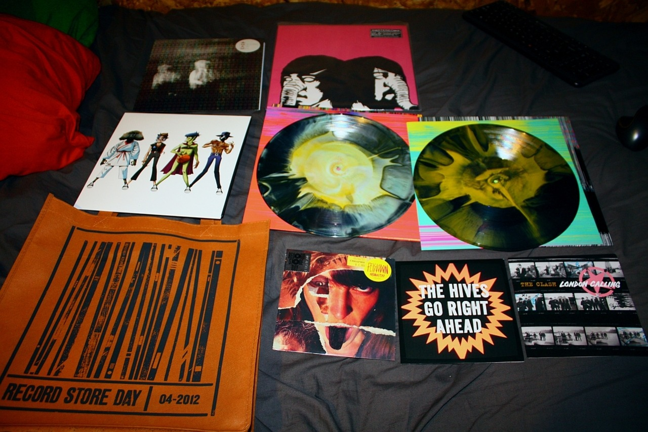 My Record Store Day haul!  Of Monsters and Men, Death From Above 1979, Gorillaz, Flaming Lips and Heady Fwends, Feistodon, The Hives, The Clash. Good times!