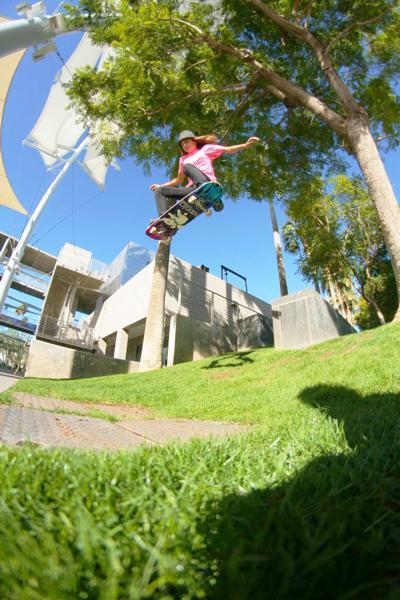 Alana Smith: 180 ollie over grass gap