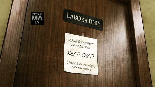 "Krieger's lab door  ""TOP SECRET PROJECT IN PROGRESS.  KEEP OUT!(Don't hate the playa, hate the game)"""