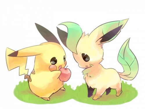 Pikachu and Leafeon! :D