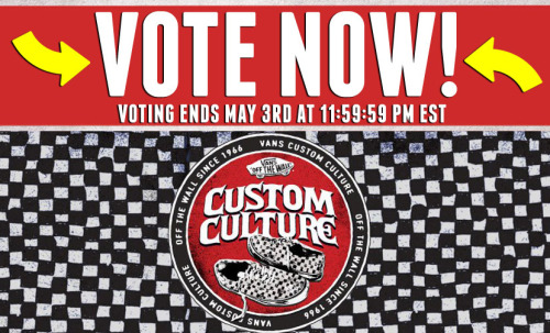 vansgirls:  Time to vote for Vans Custom Culture 2012! We had almost 800 schools register this year and we have narrowed them down to 50 semi-finalists. Now it's your job to pick your favorite school in each region creating the top 5. The top 5 schools are going to come to LA to hang out with us for a few days and the winner gets $50,000 for their school's art program. Head over and VOTE now to see all their awesome designs. -amanda