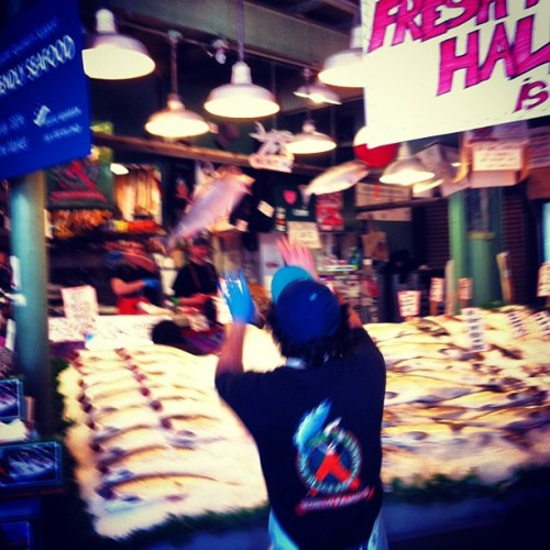 elliotjacobson:  Fish tossing at Pike Place Fish Market (Taken with instagram)