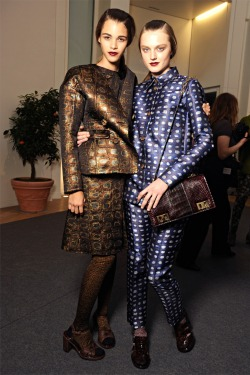 modfels:  Pauline Hoarau and Lieve Dannau backstage at Rochas Fall 2012