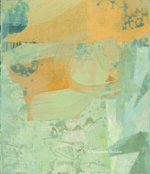 mixed media collage in soft green and orange