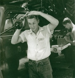 updownsmilefrown:  Farm boy slicking up in Colby, Kansas July 26, 1953