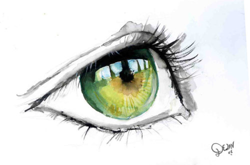 danceabletragedy:  Green Eye in Watercolour by De1in