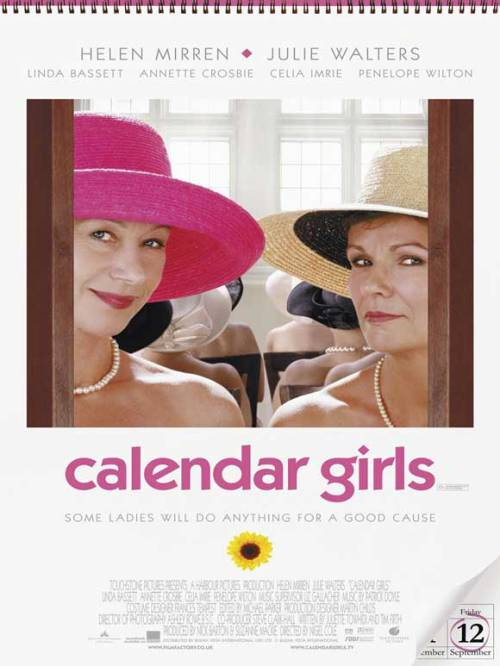 #340/#57 Calendar Girls (Rewatch) When Annie Clarke's (Julie Walters) husband dies suddenly of leukaemia, she and her best friend Chris (Helen Mirren) come up with the idea for their woman's institute group to pose nude for a calendar in order to raise money in his name. If you like older British comedy actresses being kind of silly for being sillys sake for 2 hours then this is the film for you. There is a genuine story here, based on true events, which is quite emotional and interesting to invest in but really the meat of this film is just, as I say, middle-aged woman being a little cheeky for a couple of hours. Mirren and Walters are in fine form and backed up by a solid supporting cast of comical ladies, from which I found Celia Imrie and Annette Crosbie particularly funny. The only real problem I have with the film is that it seems to come to a conclusion and then hangs about for another 20-30 minutes just to drive the point home. They make the calender and raised the money; I didn't really need to see them going to Hollywood to further promote the calender when they've already achieved their goal. It just seemed a bit superfluous. It's a good cast and a feel good story with a solid British comedy feel that could have done with ending just a little earlier than it does. 3.5/5