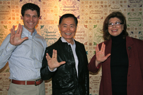 "George Takei at the Arab American National Museum with the museum's Deputy Director Devon Akmon and ACCESS Board President Wadad Abed. March 9, 2012. Mr. Takei works closely with the Japanese American National Museum, an institution that continues to be one of the AANM's biggest supporters. The AANM is currently hosting a travelling exhibit from the Japanese American National Museum, Fighting for Democracy: Who is the ""We"" in ""We, the People""?  More pictures of his visit on the AANM's Flickr page!"