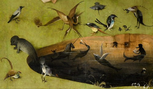 cocoroachchanel:  The Garden of Earthly Delights, left panel. Detail of pond with fictional creatures. Hieronymus Bosch.