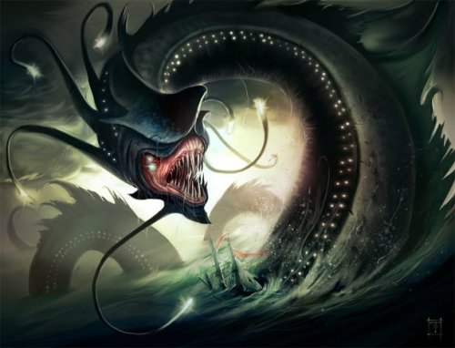 Sea monsters, man. They're messed up. And obsessed with destroying insignificant ships instead of finding some food to sustain their immense bodies.  This is an illustration for a card game.