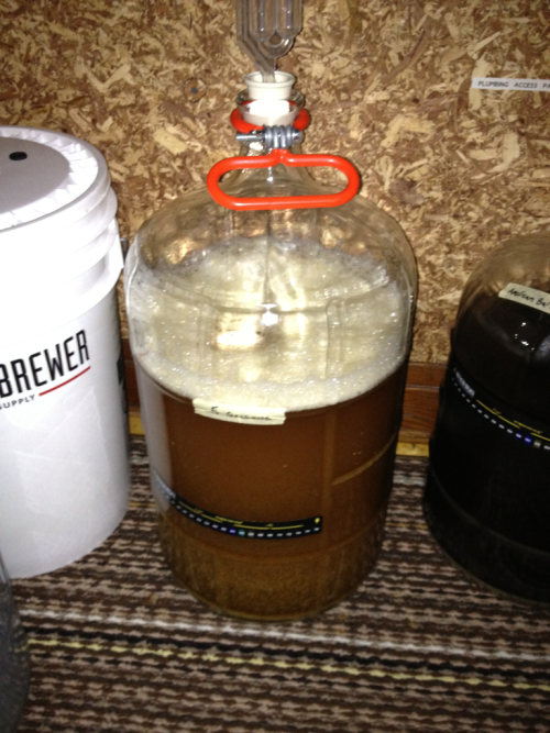 Fastest brew day yet! Clocking in under just three hours, in fact. This Sierra Nevada Pale Ale clone should take off fairly fast. That white glob on the surface is the dry yeast starting to dissolve. Should be a refreshing pint as the warmer weather approaches (or re-approaches).