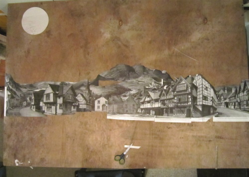 Work in progress for group collage show at the Old Fire Station, Oxford Paint & paper collage on wood 2012