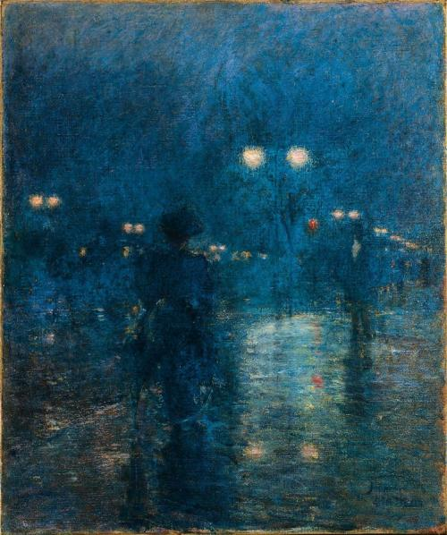 catonhottinroof:  Frederick Childe Hassam,  Fifth Avenue Nocturne