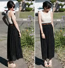 Simple. An ankle length/maxi dress with a brown leather belt (I still don't own one… I don't know why) and a plain white sleeveless top.   I love wedges for ankle length dresses. It's either them or platform heel for me.