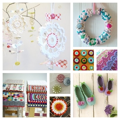 What a lovely crochet collage!   Pics found via the HabyGoddess.  Links to original creators below.   Crochet charms by Emma Lamb A Granny Square Wreath from flickr Crocheted circles fromflickr Crochet trim atRose Hip Crocheted stool covers - source unknown Soap holders - Anthropologie  Vintage Rose Potholder from Michelle Clements Crocheted slippers as shown on Townmouse