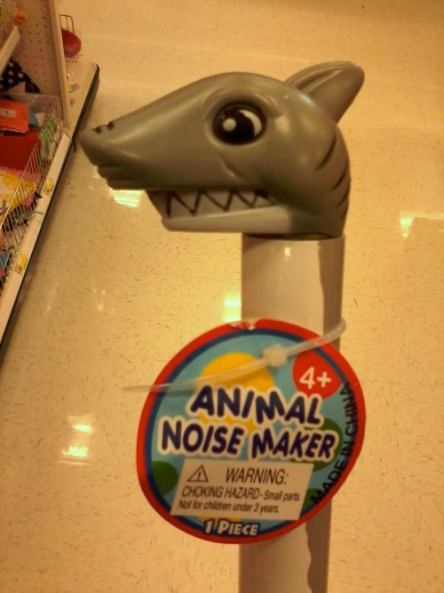 A dollar bin toy from Target- It made an authentic shark noise.
