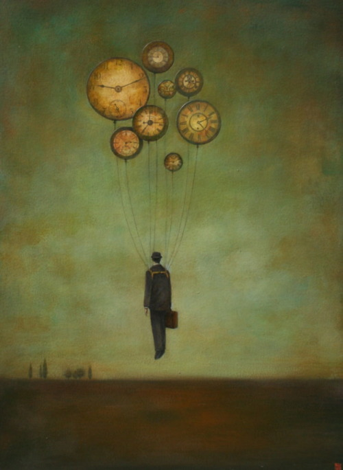 "Duy Huynh, Time Flies With Strings Attached, 2010, acrylic on wood, 24""x18"""