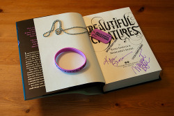 Would you like to win a signed first edition of either Beautiful Creatures, Beautiful Darkness or Beautiful Chaos? Would you also like to win a Beautiful Creatures bracelet and dog tags? Then you're in luck! All you need to do to be in the drawing is like or follow all of Margaret's social media sites. Below are all the links. Once you've finished, post a tweet to @mstohl telling her your favorite character from the Caster Chronicles. The drawing will be next Sunday! Facebook (http://www.facebook.com/MargaretStohl) Twitter (https://twitter.com/#!/mstohl) Media Assistant's Twitter (https://twitter.com/#!/margiesmedia) Blog (http://www.margaret-stohl.com/) Tumblr (http://margaretstohl.tumblr.com/) Good luck! If you have any questions direct them to me (Margaret's assistant) @margiesmedia on Twitter - V Hill [picture from http://bookalicio.us/]