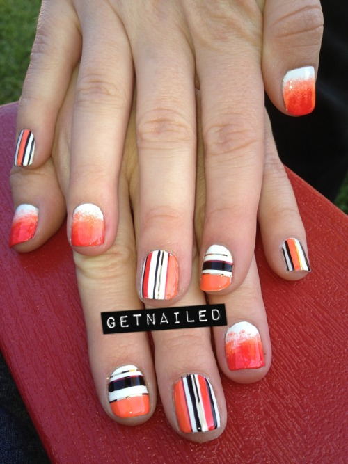 getnail-d:  Homage Month nails! This design was originally by http://madelinepoolenails.tumblr.com/  although I switched it up a little. she's one of the most talented nail artists I have ever seen!