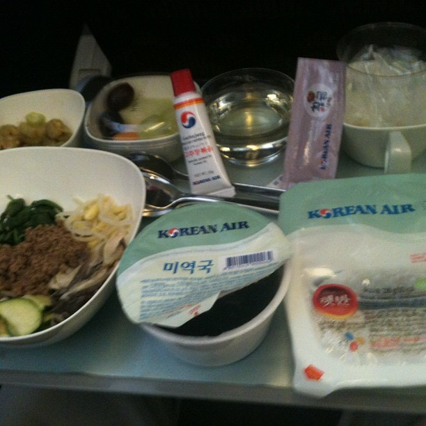 In flight meal on Korean Air My parents arrived in Japan about 8 hours ago. My dad is on instagram, documenting their travels in real time, so add him if you are a smartphone user: his username is melucy3424. Today they are doing some shopping and going to a park by my sister's house.