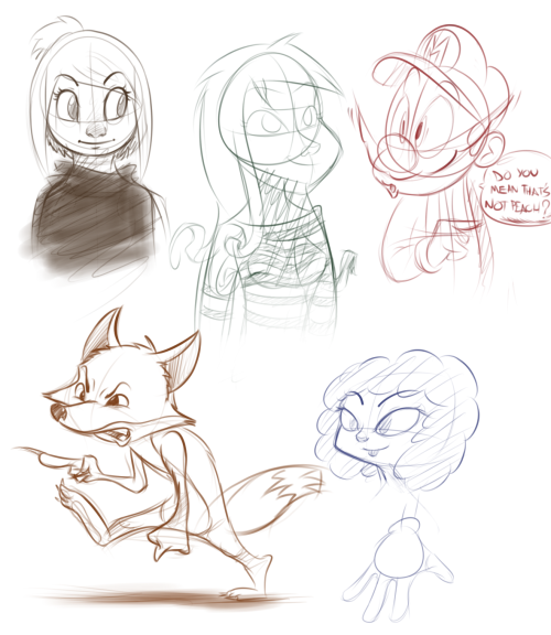 Some sketches I'll probably clean up and post somewhere else tommorrow because I liked them a little bit.